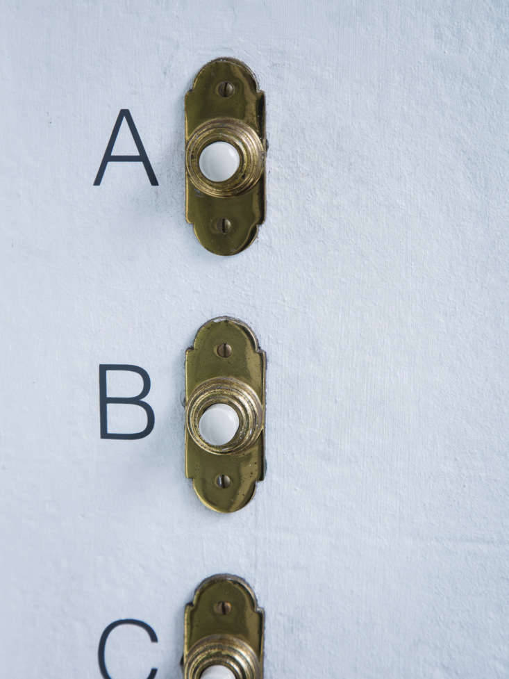 Self-adhesive gray vinyl Door Bell Letters are printed in the UK;£3 apiece at Mark Lewis Interior Design.