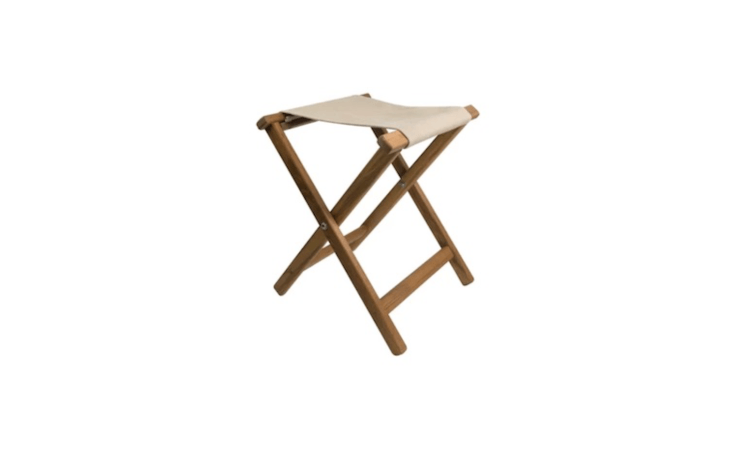 Wayfair&#8\2\17;sFolding Camping Stool has a wood frame and is available in three colors (including khaki as shown); it is \$9\2.99.