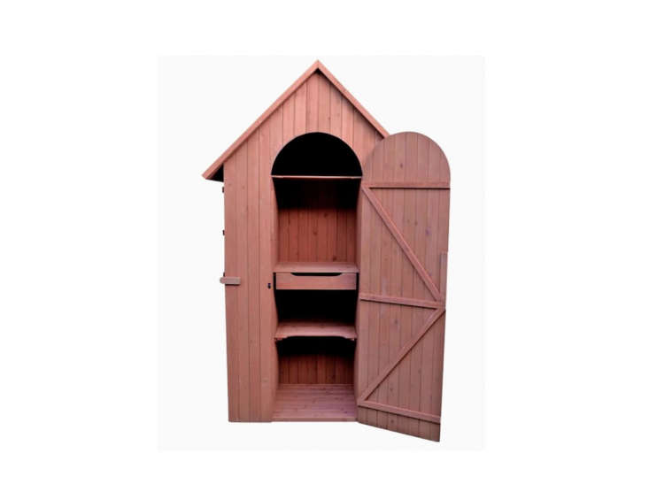 The Leisure Season Gable Cedar Wood Storage Shed is more than meets the eye. A door on the left side of the shed opens up to reveal more shelves and a drop table; a door on the right side reveals a slim closet for taller items; $757. at Lowe&#8