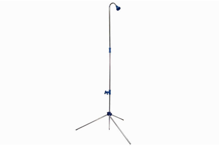 The Luxline Portable Outdoor Shower is designed to quickly set up and take apart; \$49.95 Luxline.