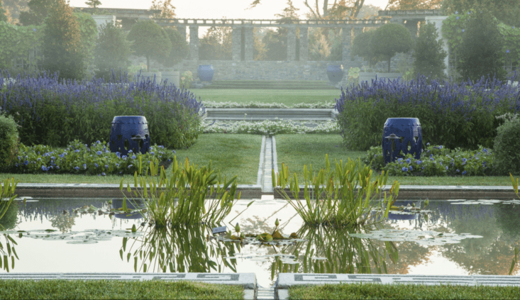 Looking south past the pool, a pergola is framed by &#8\2\20;mixed evergreen plantings of appropriate heights for the garden&#8\2\17;s light requirements.&#8\2\2\1; Photograph by Millicent Harvey.