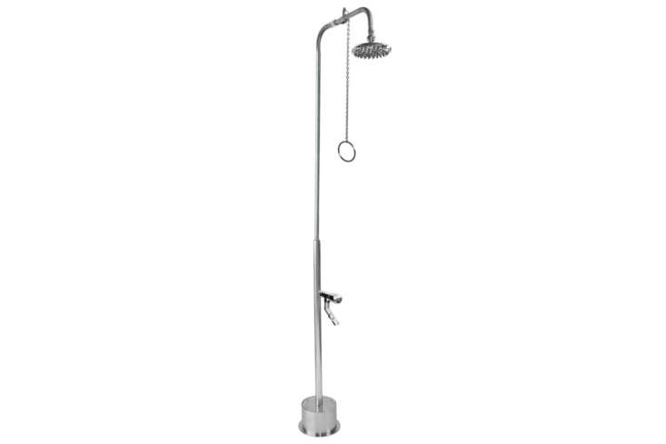 Outdoor Shower Co. makes the Free Standing Shower with Pull Chain Valve (BS-\1\200-PCV-ADA). It&#8\2\17;s \$\2,395 at Outdoor Shower Co.
