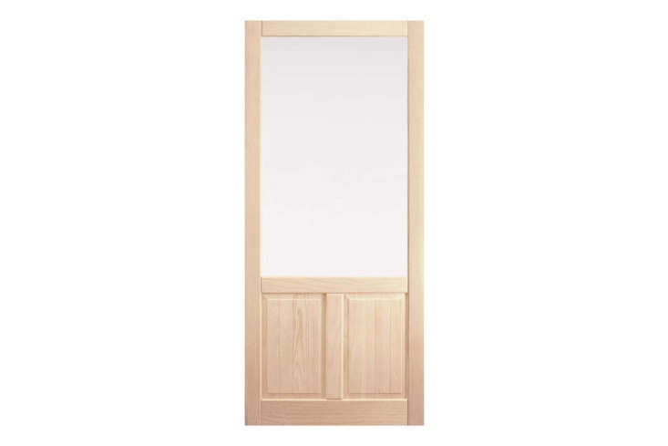TheFir Storm Door with Double Panel Bottom comes in three sizes, is made in the US, and comes with both screen and removable glass panels; $685 at Rejuvenation.