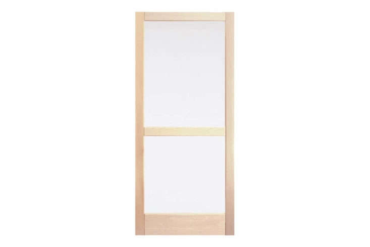 The Fir Storm Door with Mid Bar in Douglas fir comes with screens and removable glass; $639 at Rejuvenation.