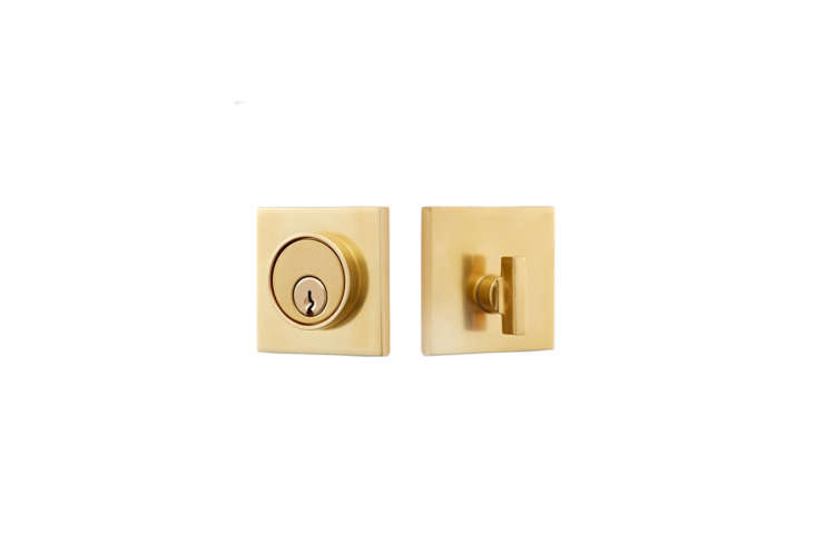 The Tumalo Single Cylinder Deadbolt is available in aged brass, oil-rubbed bronze, and polished nickel; \$\1\19 at Rejuvenation.