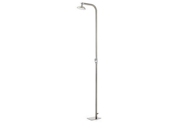 The Stainless Steel Lawn Shower is made of stainless steel and chrome plated brass and hooks up to a garden hose; €590 at Manufactum.