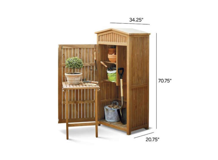 Left untreated, the Teak Garden Storage Shed from Frontgate will weather to a silvery color; $loading=
