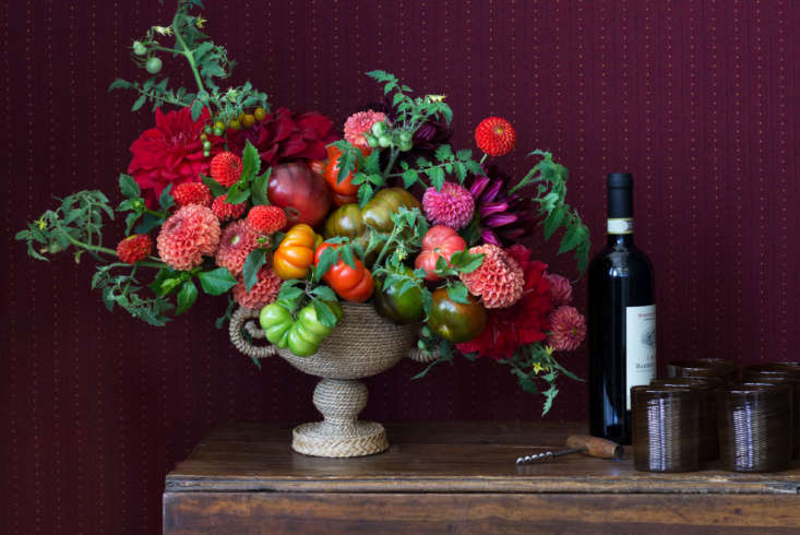 Tomatoes and dahlias are happy companions on the sideboard, sitting next toCraft Advisory&#8\2\17;sTextured-Twist Tumblers in brown (\$54 each at Barney&#8\2\17;s).
