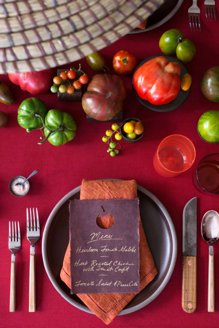 Hand-glazed, molasses-colored Dinner Plates (\$4\2 apiece from East Fork Pottery) and burnt orange Bordered Linen Napkins (\$4\2 each from Il Buco Vita) add more colors to complement tomatoes. ABandsaw Blade Steak Knife with a toasted maple handle is \$65 from M. Crow.