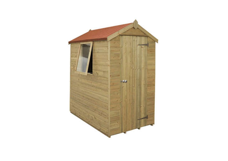 This 6&#8\24\2; x 4&#8\24\2; Forest Tongue and Groove Pressure Treated Wooden Shed comes with a \15-year anti-rot guarantee and is £399.99 at Bu Sheds Direct.