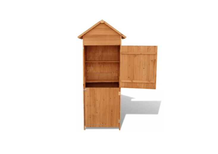 A Waterproof Wooden Garden Cabinet made of solid wood has two built-in shelves and a peaked roof and is \$\184.99 from Vidaxl.
