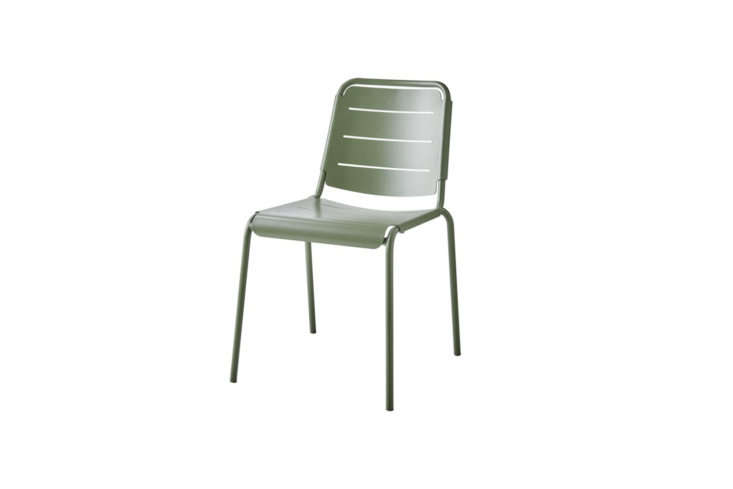 Cane-line Stackable Copenhagen City Chair comes in Olive Green; \$340 at Cane-line.