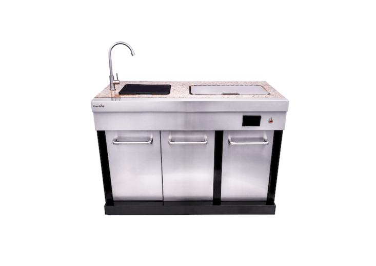 A Char-Broil Modular Outdoor Kitchen Entertainment Module &#8\2\20;boasts a fully functioning faucet and sink, removable insulated cooler and cutting board insert, in addition to a removable trash can and electrical outlet&#8\2\2\1; and enables you to plug in and charge a cell phone, notes the manufacturer; \$\1,\199.