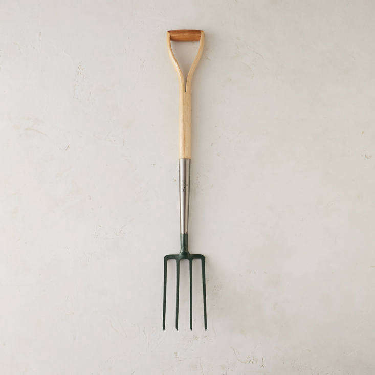 Also shown in the top photo of this post, a Clarington Forge Border Fork is handmade in England and has a compact 37-inch ash handle to make it easy to maneuver in tight spaces such as compost bins. It is \$78 from Terrain.
