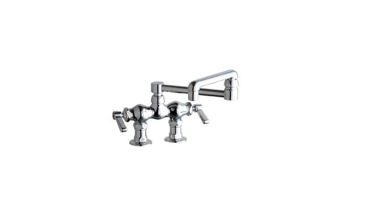 Another favorite deck-mount utility faucet from Chicago Faucets is theUniversal Two-Handle Kitchen Faucet with Swing Spout (77