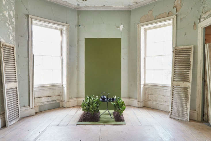 """According to Farrow & Ball, """"Bancha, a mid-century modern green, is a darker version of the much loved archive color, Olive. Perfect for those who want to embrace stronger color in the home, its sober tone creates rooms that feel calm and serene."""""""
