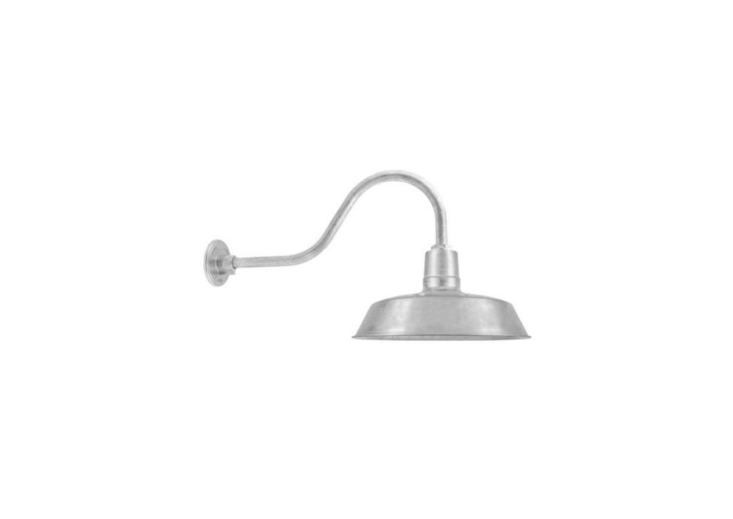 With a galvanized finish, The Original Warehouse Gooseneck Light can be customized with five sizes of shades, a straight or gooseneck arm (varying lengths are available ) and a wire cage. Prices start at \$\183 at Barn Light Electric.