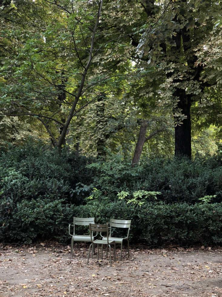 Fermob chairs, the Luxembourg Chair, was designed for Paris&#8\2\17; Jardin du Luxembourg. Photograph by Alexa Hotz.