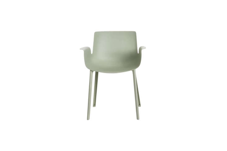The Kartell Piuma Chair in Sage Green is made of technoplastic polymer and carbon fiber; \$530 at Hive.