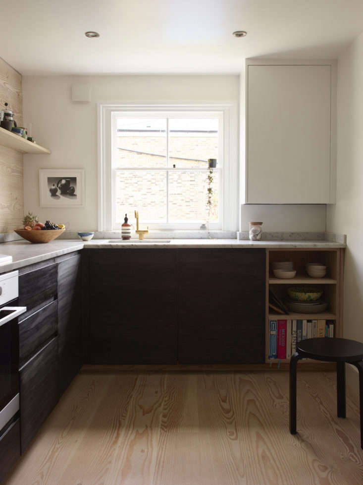 One way to cut down on kitchen remodel costs: use Ikea base cabinets and pair with fronts by a different company (in this case, the homeowners chose fronts fromNaked Doors). See more of this project in A Rehabbed London Maisonette from a Newly Minted Designer, High/Low Secrets Included. Photograph by Richard Round-Turner, courtesy of Lisa Jones.