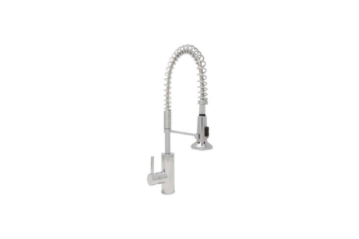 ThePresidio Pull-Out Spray Kitchen Faucetis a commercial-grade restaurant faucet in polished chrome for $574 from Mirabelle. It&#8