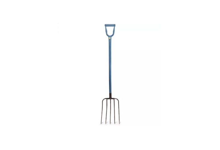 An all-steel Professional Mulching Fork with five tines is made in the US; \$99.95 from Garrett Wade.