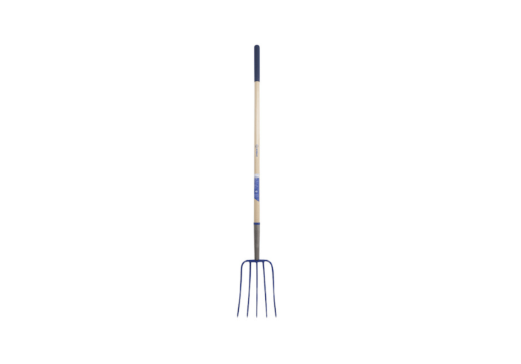 A 54-inch Wood-Handle Steel Manure Fork has a forged steel head and is \$45.98 from Lowe&#8\2\17;s.