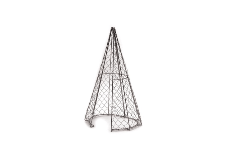 Consider it training wheels for a topiary. &#8\2\20;This classic &#8\2\16;Cone&#8\2\17; topiary shape, formed from galvanized wire, is hinged to enable it to be fitted around established plants and/or removed after trimming is completed,&#8\2\2\1; notes retailer The Potting Shed.