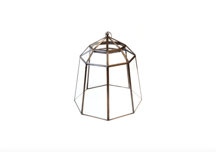A Victorian Lidded Bronze Lantern Cloche is about \19 inches in diameter and about \20.5 inches high; £89.99 at Crocus.