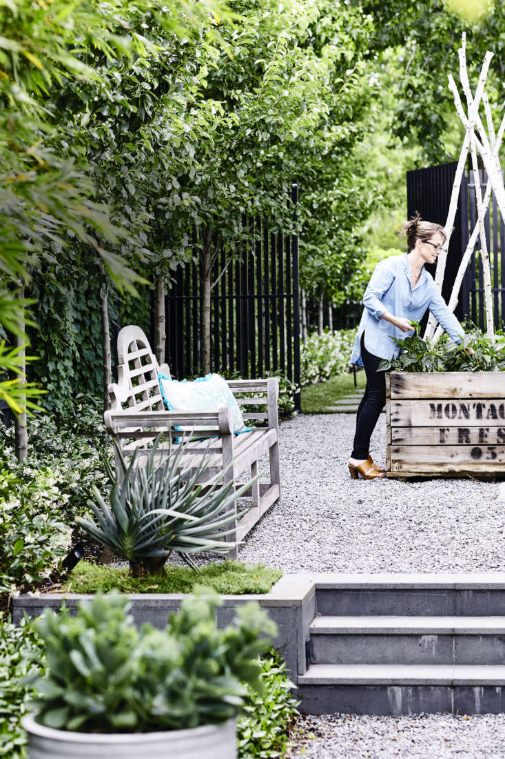 In a gravel courtyard on the side of the house, homeownerLynn Cheong grows herbs in a raised-bed kitchen garden made from recycled apple crates.