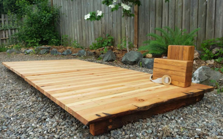 Custom yoga platforms designed by Ananda Woodworks have boards fastened by wooden pegs and are made of reclaimed and salvaged wood. For more information and pricing, see Ananda Woodworks.
