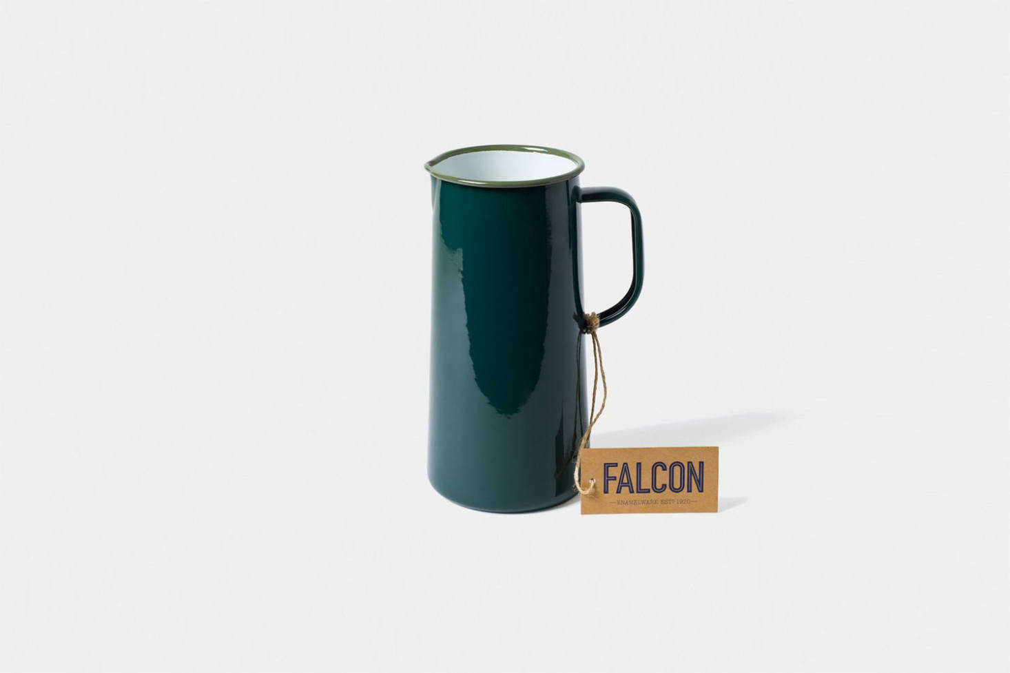 Green Falcon Enamelware can add a cozy cabin vibe to any interior. See Steal This Look: An Economical Kitchen in an English Beach House, Ikea Hack Included.