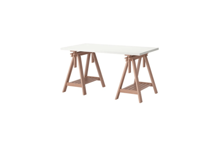 A 59-inch-long sawhorse Finnvard/Linnmon Table is \$\1\29.99 from Ikea.