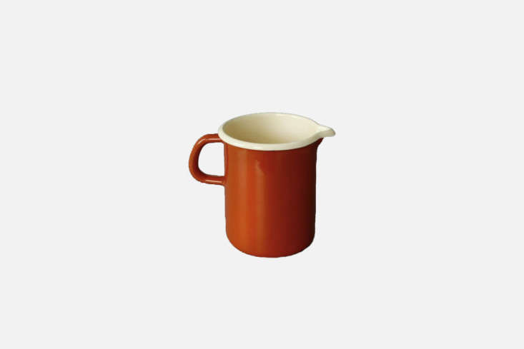At London shop Labour and Wait, the Reiss Large Enamel Jug in burnt orange, as shown, is £\26.