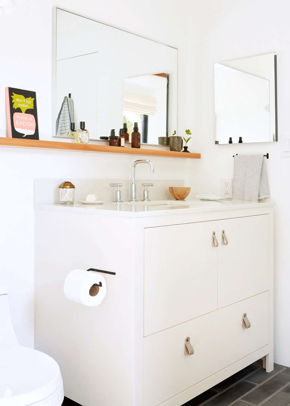 Artful storage is possible in a bathroom, and here&#8