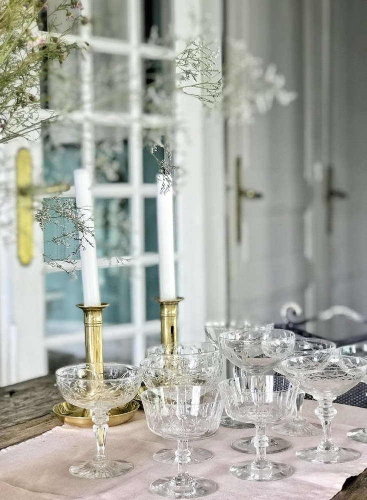 A one-of-a-kind vintage set of sixMix-and-Match Champagne Coupes, all crystal, collected throughout France; €75 at Madame de la Maison.