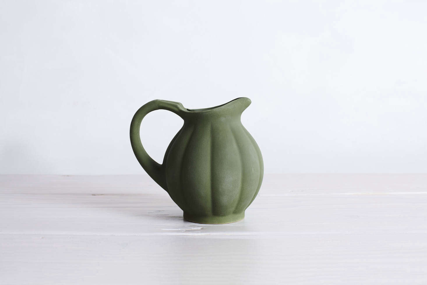 A Pumpkin PitcherbyFrench brand Manufacture de Digoin has a matte green glaze and is for £85 at SCP and also can be found at Nickey Kehoe (contact for restocking information).
