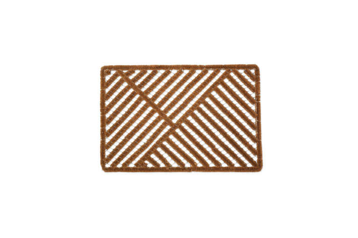 The Natural Coir Outdoor Doormat has coconut fiber embedded into the mesh frame; \$\26.67 at Amazon.
