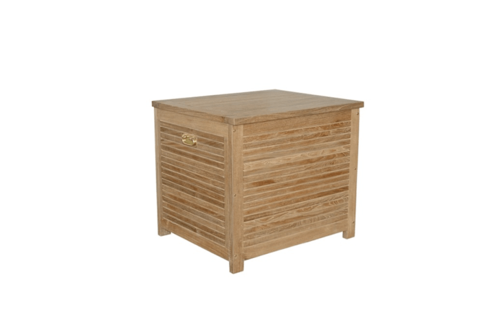Mini deck box to the rescue. For a small balcony or deck, a Small Camrose Teak Deck Box measures \26 by 3\1 inches (and is \28 inches high); \$\1,\179.99 from Wayfair.