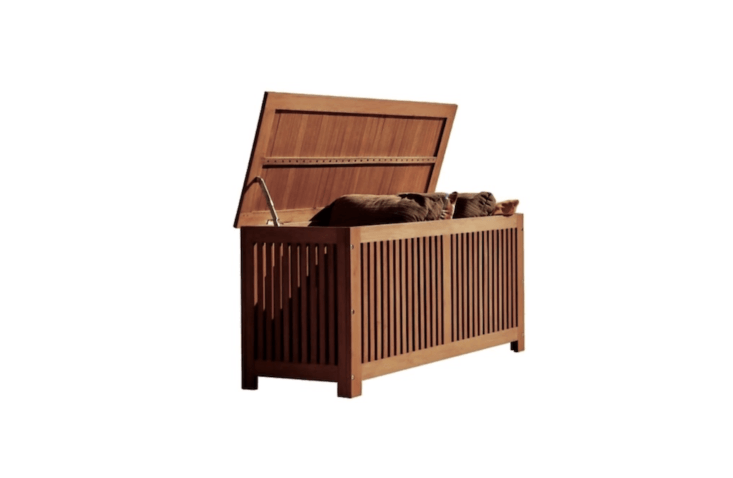 With a hinged lid, a hardwood Vifah Outdoor Storage Container made of eucalyptus wood is \$\1\19.99 from Target.