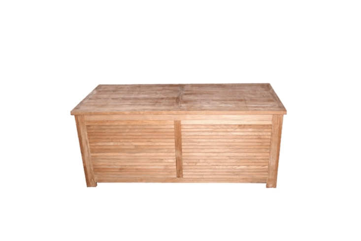 Some deck boxes can double as outdoor seating. Made in Indonesia, a Teak Deck Box with a 500-pound capacity is \$\1,309.99 from Wayfair.