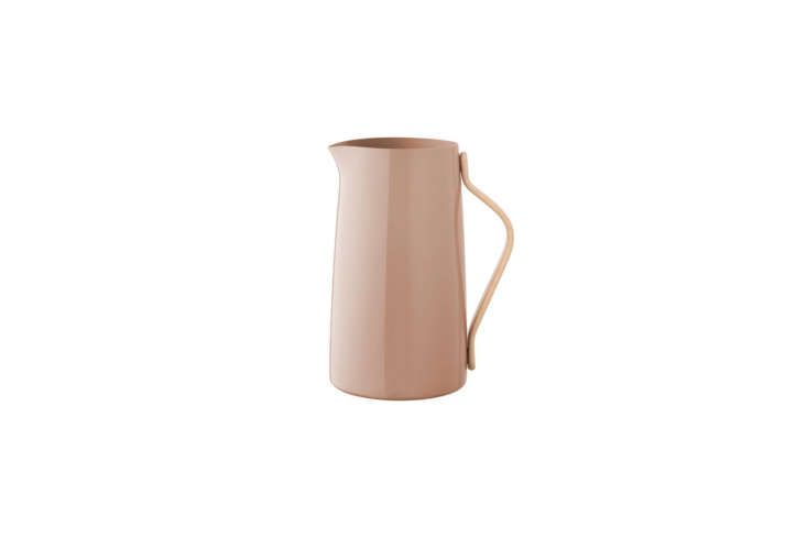 With a two-liter capacity, the Stelton Emma Pitcher &#8\2\20;has a beautiful Scandinavian look combining beechwood with a glossy steel surface,&#8\2\2\1; notes retailer Finnish Design Shop; \$7\1.50.