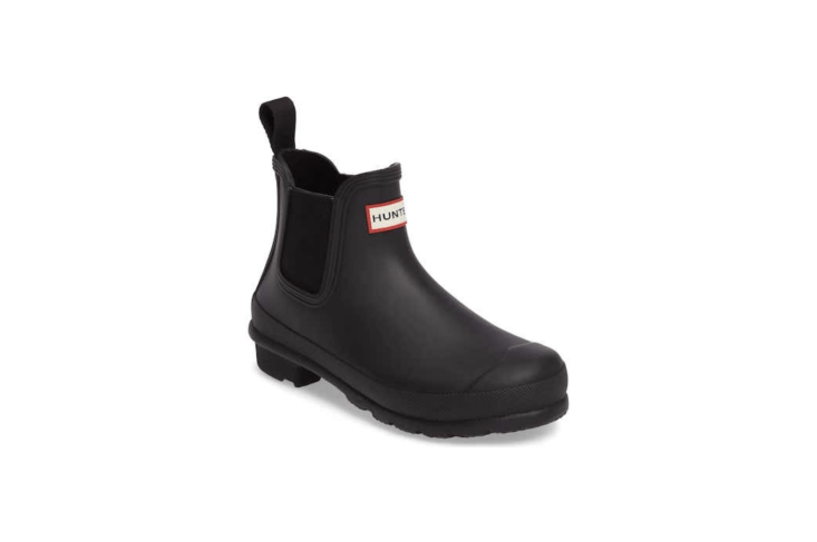 From Hunter, the Original Waterproof Chelsea Rain Boot is available in four colors including black as shown here and in the top photo. &#8\2\20;In hot or humid weather, natural latex rubber releases a protective wax film; simply wipe it off with a damp cloth,&#8\2\2\1; notes the manufacturer; \$\135 from Nordstrom.