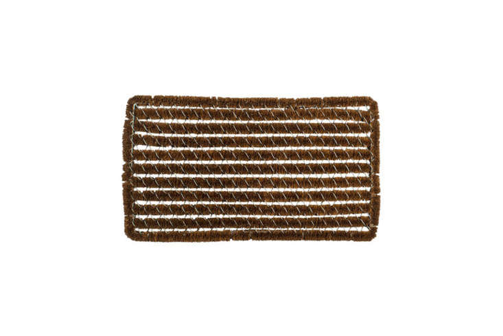 The Williams-Sonoma Rectangle Stripes Wire Brush Doormat is \$69.95 for the regular size; it also comes in a long size for \$89.95 at Williams-Sonoma.