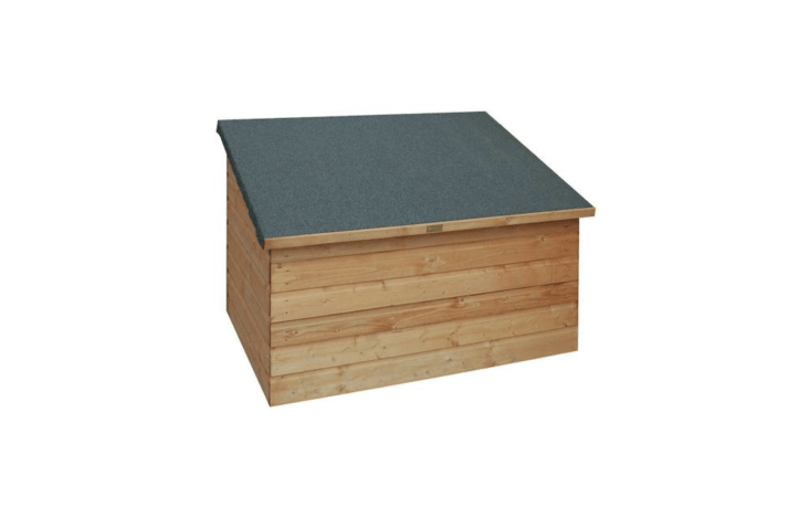 A slanted roof keeps stored items dry. From UK-based Rowlinson, an English Garden Wood Garden Deck Boxwith a weatherproof mineral felt roof is \$\275.49 from Home Depot.