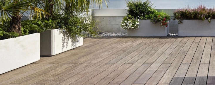 Bamboo X-treme Decking is a solid board made from compressed bamboo strips; for more information and pricing, see Moso.