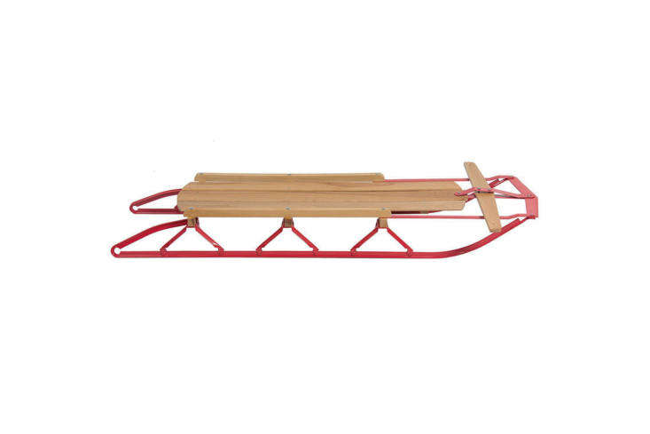 The Best Choice Products Kids Wooden Snow Sled, with metal runners and a flexible steering bar, is $8loading=