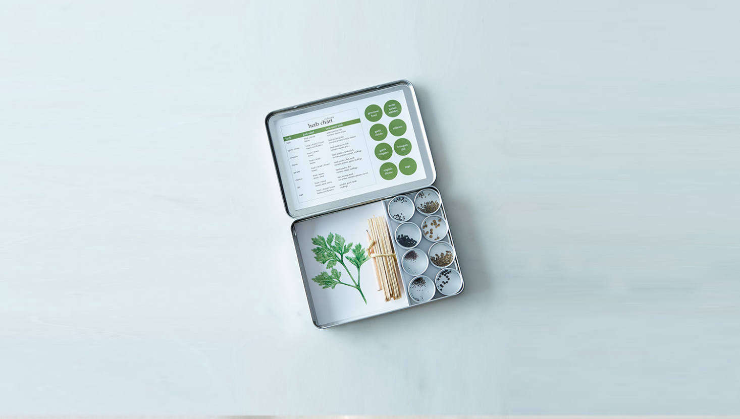 And, for the apartment gardener (or cook): a Culinary Herb Garden Maker has everything you need to grow a windowsill herb garden (and comes in a tidy little tin). It&#8