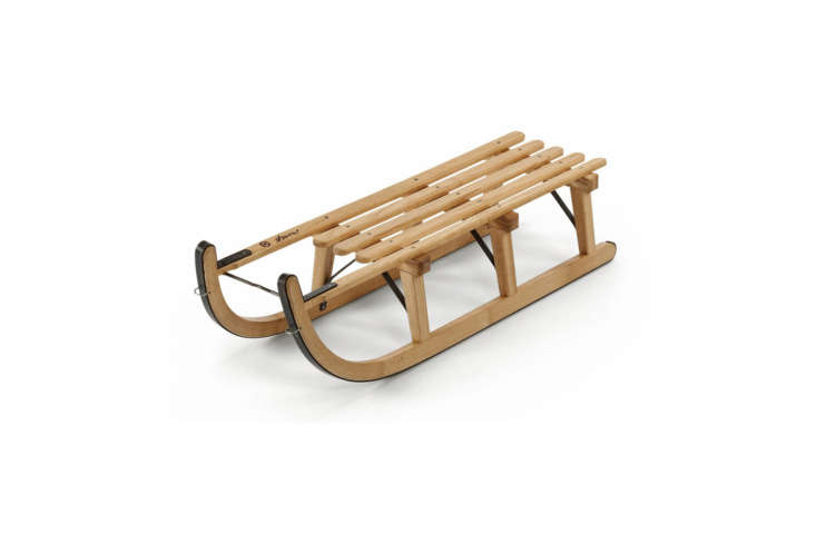 The Davos Toboggan from Swiss furniture company Graf is designed from ash wood with an extra-long sliding surface at front and back for greater stability; €9 at Manufactum in Germnay.