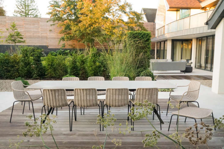 Outdoor furniture designer Expormim, based in Spain, exports to 40 countries including the US. Show here is a dining table from the Falcata collection (which in addition to several rectangular sizes includes round and elliptical models). It has aluminum legs and can be customized with either a porcelain or laminate tabletop.